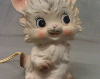 Lefton's Exclusive Beige Cat with Pink Ears Blue Eyes Cheeks and Mouth Cat Electric Night Light
