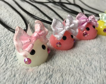 Resin Drop Hair Bow Charm Necklace