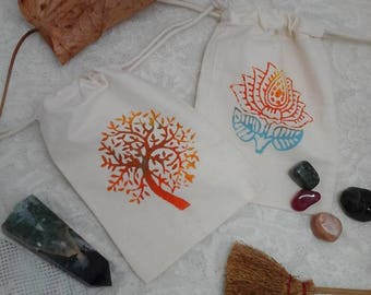 rune pouch,block printed pouch,rune bag,gem stone pouch,rune stone pouch,crystal pouch,herb pouch,cotton pouch,draw string pouch,bag,pouch