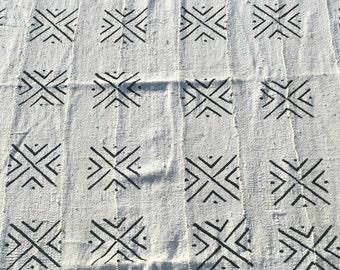 "White & Black Geometric X Designs African Mud Cloth Bogolanfini - Approx. 60"" x 40"" FREE SHIPPING!"