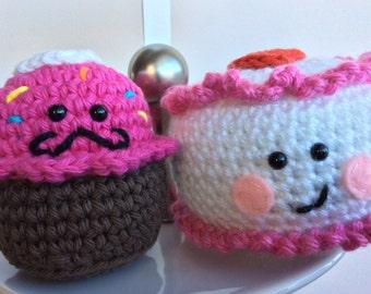 Amigurumi Cupcake And Cake, Crochet Treat, Dessert, Valentine