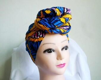 Blue and Fuchsia Feathers Ankara Head wrap, DIY head tie, Stylish African head scarf, Fabric hair accessory – Made to Order