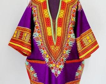 Purple Multi Angelina Dashiki Extra Large Shirt,  Unisex Dashiki Shirt, Oversize Cotton Shirt, Afro Shirt, XXL Shirt - Made to order