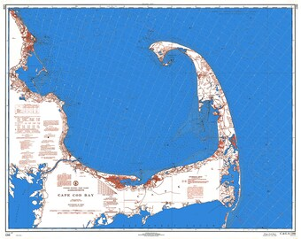0420-Cape Cod Bay 1968-Red-Whie+Blue-Nautical Chart by NOAA