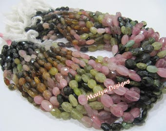 AAA Quality Natural Multi Tourmaline Beads / Oval faceted Beads Size 6x8 to 7x9mm / Sold per Strand of 14 Inches Long/ Watermelon Tourmaline
