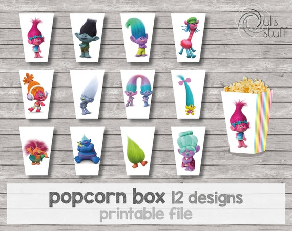Trolls Popcorn Container Template
