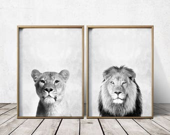 Lion Print  - Nursey Prints - Nursery Decor - Animal Print - Nursery Art - Lion Art - Animal Print