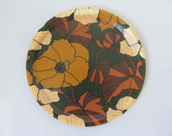 typical 1970s psychedelic floral pattern fiberglass tray 70's mid century french vintage tray