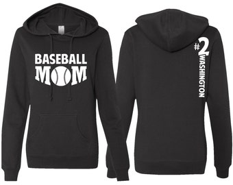 Baseball Mom Hoodie, PERSONALIZED Baseball Mom Hoodie, Baseball Mom Sweatshirt, Wife Gift, Mother's Day Gift, Mom Gift