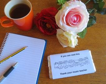 Thank you music teacher (chocolate bar wrapper)