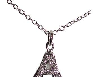 18 kt White Gold Diamond A Pendant Necklace