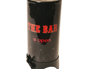"Vintage ""BAR IS OPEN"" Motion Lamp spinning mid century modern 60s 70s man cave light MoD psychedelic disco party black 16733"