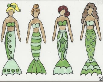 Mermaid #254 with Sisters Hand Painted Kiln Fired Decorative Ceramic Wall Art Tile 6 x 8