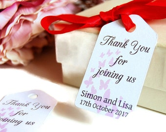 Wedding thank you tags, wedding favour tags, thank you wedding cards, wedding butterfly labels, favor labels, wedding favor tags
