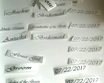Vinyl wording for hangers, wedding hangers, personalised vinyl, vinyl lettering, wedding customised