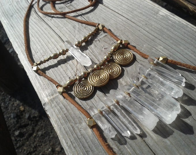 Talisman quartz necklace, with brass beads and leather cord, necklace with 10 crystal quartz whores, adjustable in height, without nickel,