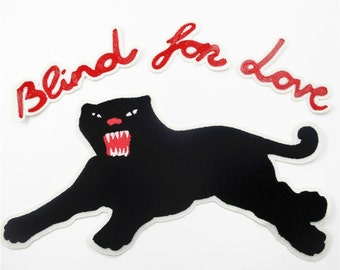"""1 Set of Panther Embroidered Applique Patch ,""""Blind for Love"""" Patch,Panther Applique for Garment Accessories"""
