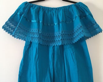 Campesina mexican turquoise blouse