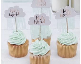Rose Gold & Cloud Baby Shower Cupcake Toppers - Hello World - Pack of 10