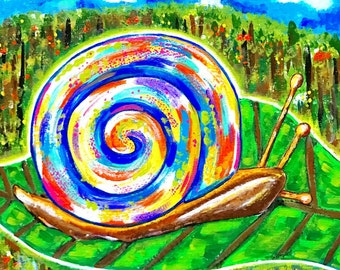 "Painting: ""Sunlit Snail"" (12 x 12 Inches)"