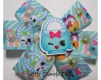 Baby/Toddler/Girl/Adult 3.5 Inch Pinwheel Hair Bows on Lined Alligator Clip - Shopkin Harriet Handbag
