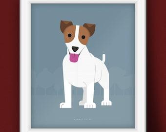 Jack Russell Dog Portrait (Illustrative Poster)