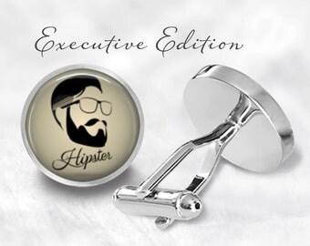 Hipster Cufflinks - Bearded Hipster Cuff Links - Beard Cufflinks (Pair) Lifetime Guarantee (S0327)