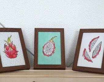 Dragon Fruit Illustration Set, framed - pitaya illustration, kitchen wall art set, mint background, tropical fruit illustration