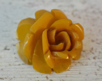 Original Vintage Butterscotch Bakelite Carved Rose Pendant