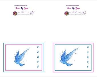 positive inspiration - peace - notecards - dove - blue water - blue dove