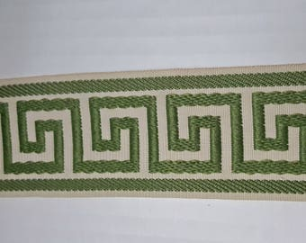 "Cream & Olive Greek Key Trimming 2.25"" wide, by the Yard"