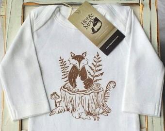 WOODLAND FOX-  LONG Sleeve Organic Baby Onesie