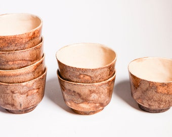 Ceramic tea cups - Handcrafted pottery mugs - Brown earthen colours