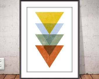 TRIANGLES COLOUR poster, Geometric print, Abstract poster, Nordic style, Modern minimalist art, Graphic home decor, Ikea Ribba frame, #2006
