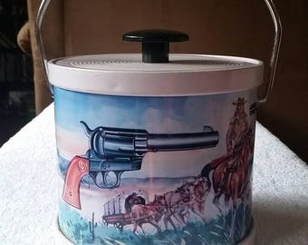 Vintage Western Tin Ice Bucket with Pistols, Cowboys and Horses. 1970s cowboy bar.
