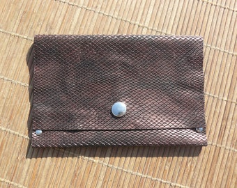 Bright leather Bronze scales pouch