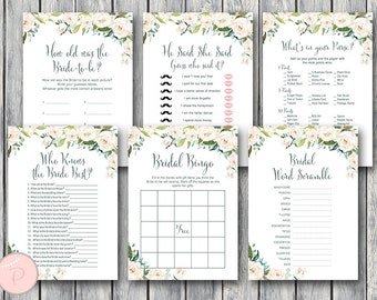 White Ivory Floral Bridal Shower Games Package, Instant Download, 6 Games Printable, Game Download, Bridal Shower Activities TH61 dd