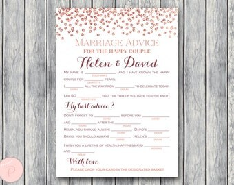 Rose Gold Confetti Marriage advice cards, Wedding Mad Libs, Printable Wedding Game, Wedding Activities, Printable Game TH68