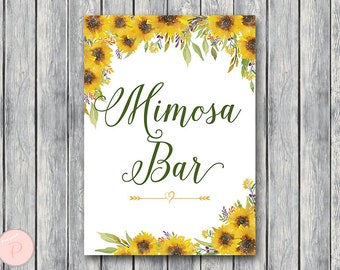 Sunflower Summer Mimosa Bar Sign, Bubbly Bar Sign, Wedding Bar Sign, Printable Sign, Wedding Decoration Sign, Engagement Party TH80