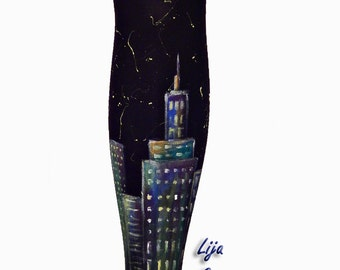 Hand Painted Colorful Tights, New York City Tights, Colorful City At Night, Colorful Leggings, Painted Tights
