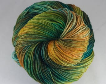 Hand Dyed Sock Yarn 100% superwash extrafine merino, hand dyed wool, variegated sock yarn, green, orange