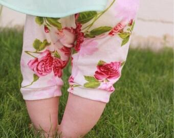 Baby Floral Leggings, Toddler Floral Leggings, Girls Floral Leggings, Hipster Baby Leggings, Vintage Baby, Leggings, Pink Floral