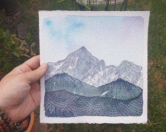 Moving Mountains // original watercolour painting // handmade // framing available