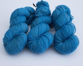 SALE Little, Big Blue Box - Hand Dyed Yarn uk - 100% SW Merino - Echo DK weight - 100g 210m - Tardis Blue - Semisolid Layered yarn - indie