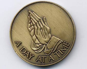 "Praying Hands ""A Day at A Time"" AA Serenity Medallion"