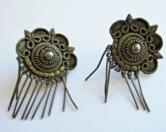 Vintage Sterling Silver Filigree & Fringe Earrings Persian Etruscan Middle East Jewelry