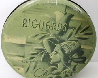 Rare Antique 1920s Art Deco Richards Midinette Chocolat Tin French Chocolate Box Midnight New york Candy