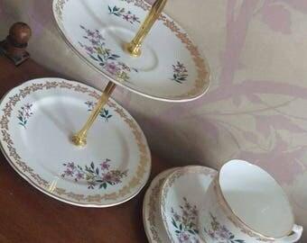 Royal Grafton 2 Tier Cake / Bon Bon Stand with Tea Cup Trio