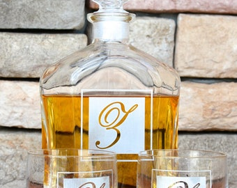 Whiskey Decanter, Scotch Glasses, Home Bar, Christmas Gift For Him, Gift for Dad, Rocks Glasses, Scotch Decanter Set, Boyfriend Gift,