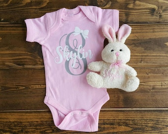 Easter gift etsy baby shower gift monogrammed gift personalized gifts custom one piece baby girl negle Image collections